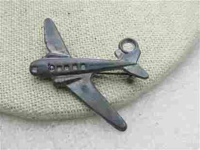 """Vintage Cast Metal Airplane Brooch, 1940's, 1.5"""""""