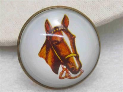 Vintage Single Horse with Bit Bridal Rosette Button,