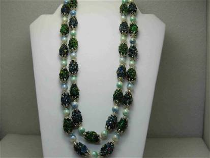 Vintage Seed Bead Encrusted Beaded Necklace, Double