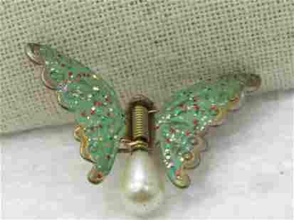 Vintage Green Enameled Butterfly Fur/Dress Clip, Faux