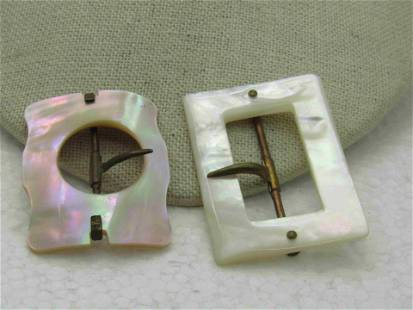 Vintage Early 1900's Mother-of-Pearl Buckles, Domed