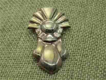 Vintage Sterling Silver Ray & Ribbon Brooch, Sigined