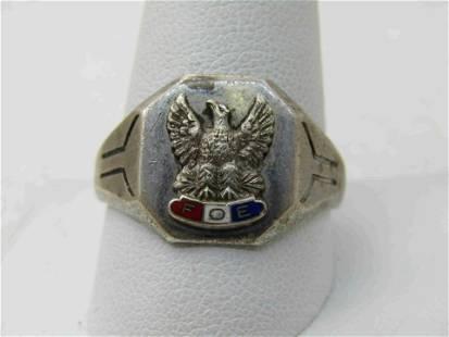 Vintage Sterling Silver Fraternal Order of Eagles Ring,