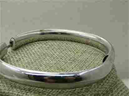 Vintage H.F.B. Sterling Engraved Bangle Bracelet, 9mm,