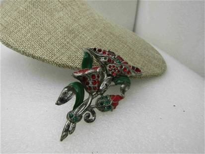 Vintage 1940's Red Green Enameled Rhinestone Floral