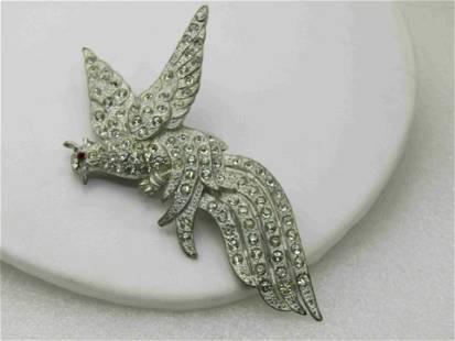Vintage Art Deco Rhinestone Figural Bird Brooch,