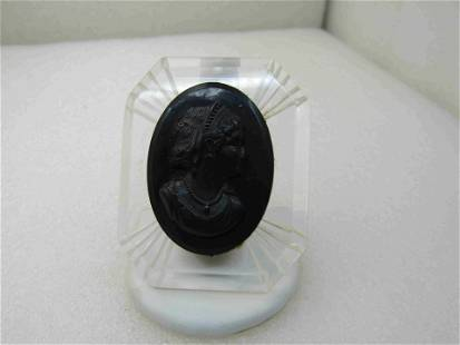 Vintage 1940's Clear Lucite & Black Cameo Brooch,