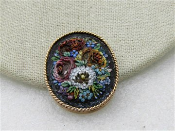 """Victorian 14kt Micromosaic Floral Brooch, 1.5"""" by"""