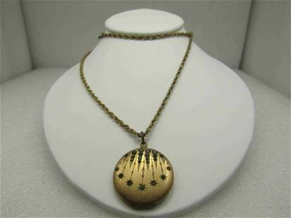 Victorian Rhinestone Locket Necklace, Falling Stars.