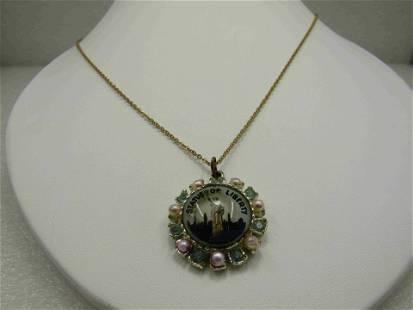 """Vintage Statue of Liberty Souvernir Necklace, 17.75"""","""