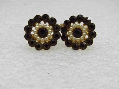 Vintage Faux Pearl Rhinestone Blossom Earrings, Screw
