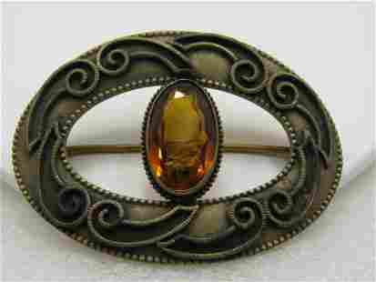 "Art Nouveau Brass Brooch, C-Clasp, Yellow Stone, 3"""