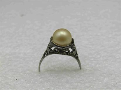 Edwardian Sterling Silver Filigree Pearl Ring, Sz. 5,