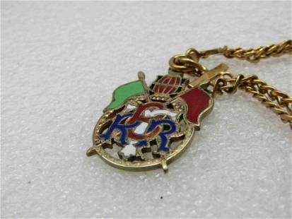 """Vintage 10kt G.F. Watch Fob Bracelet, 6.75"""", Enameled"""