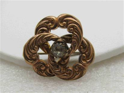 Victorian 10kt Gold Filled Love Knot Brooch Pendant,