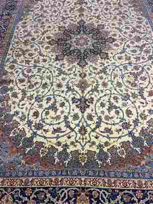 Fine Hand Knotted Silk&Wool Persian Esfahan 9x12 ft