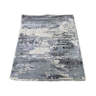 Hi-Low Pile Abstract Design Wool And Silk Hand-Knotted
