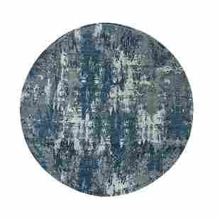 Blue Abstract Design Wool and Pure Silk Hand Knotted