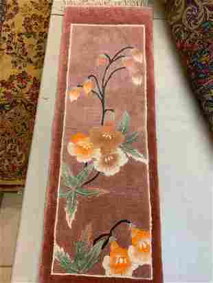 Hand Knotted Chinise Silk 1x3 ft