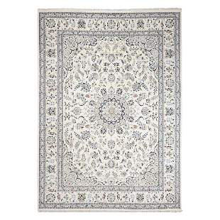 Ivory Wool and Silk 250 KPSI Nain Hand Knotted Oriental