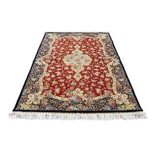 Red Kashan 400 kpsi Pure Silk Hand-Knotted Oriental Rug