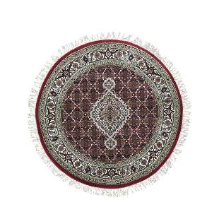 Round Red Tabriz Mahi Wool and Silk Hand Knotted