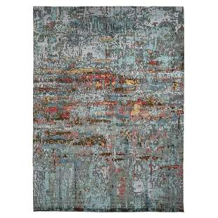 Colorful Abstract Design Wool And Silk Hand Knotted