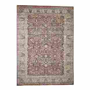 Silk With Oxidized Wool Oushak Design Hand-Knotted
