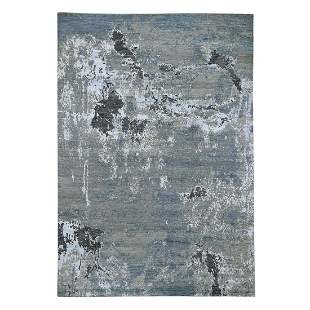 Gray Hi-Low Pile Abstract Design Wool And Silk Hand
