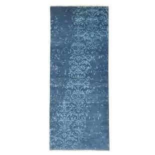 Wool and Silk Damask Runner Tone on Tone Handmade