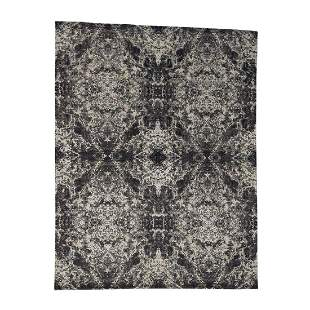 Hand-Knotted Wool and Silk Abstract Design Modern Rug