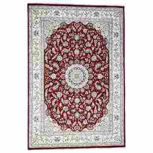 Red Wool and Silk Nain 250 KPSI Hand Knotted Oriental
