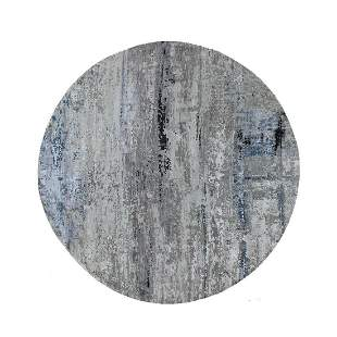 Gray Hi low Pile Abstract Design Round Wool And Silk