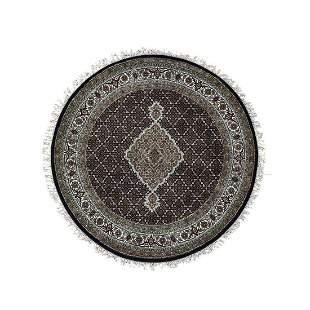 Round Black Tabriz Mahi Wool And Silk Hand Knotted