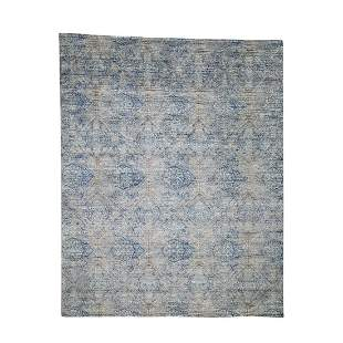 Silk With Oxidized Wool Denim Blue Erased Rossette