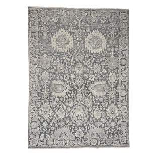 Silk With Oxidized Wool Hand Knotted Oushak Influence
