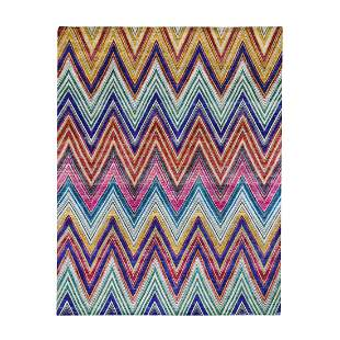 Hand-Knotted Chevron Design Sari Silk with Oxidized