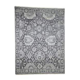 Hand-Knotted Oushak Influence Silk with Oxidized Wool