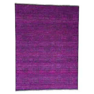 Fuchsia Colors Sari Silk with Oxidized Wool