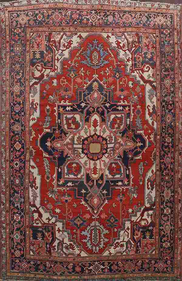 Pre-1900 Antique Heriz Serapi Vegetable Dye Persian