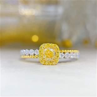 18K White Gold 0.503ctw Yellow Diamond Ring