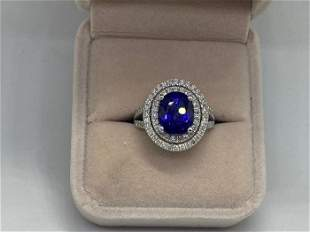 14 kt. White gold - Ring - 6.25 ct Deffused Sapphire -