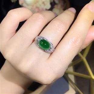 18K White Gold 3.12ct Emerald & Diamond Ring
