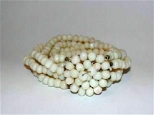 Angel Skin Coral Multi Strand Bead Bracelet