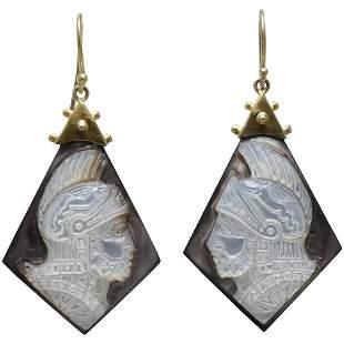 Vintage cameos 14K gold earrings
