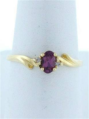 LADIES 10K GOLD 1/4ct 5x3mm OVAL SYNTHETIC PURPLE