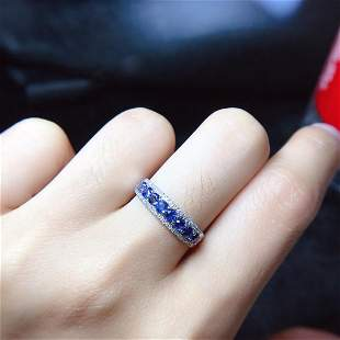 18K White Gold 0.85ct Sapphire & Diamond Ring
