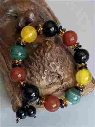 Chakra Natural Gemstone Beads Colourful Agate Elastic