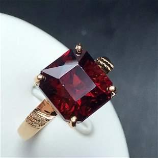 18K Yellow Gold 5.95ct Garnet & Diamond Ring