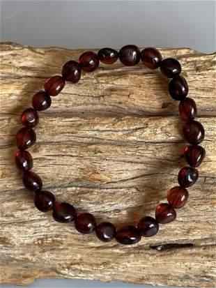 Genuine Natural Blood Amber Stretch Irregular Beads